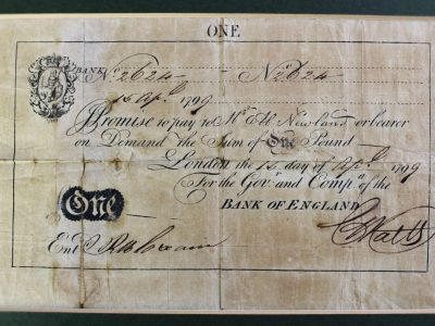9. A Bank of England Abraham Newland one pound note dated 1799 SOLD for £2,600 - April 2018